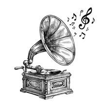 Hand-drawn Vintage Gramophone ...