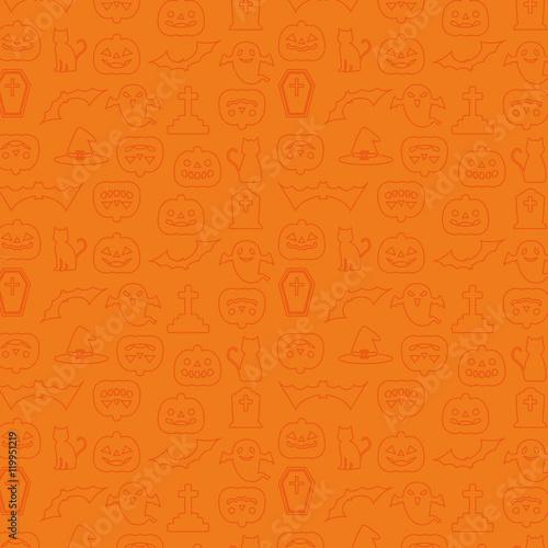 ハロウィン パターン 壁紙 背景 線画イラスト オレンジ Buy This Stock