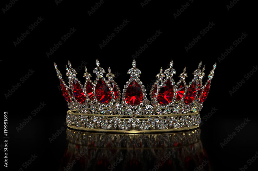 Fototapeta Diamond & Ruby Crown A jewel encrusted crown, isolated on black. The crown features many marquise diamonds and features large, oval rubies.