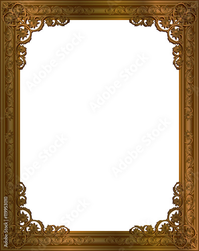 Gold photo frame with corner line floral for picture, Vector design ...