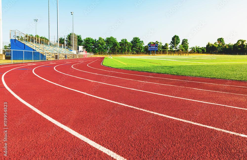 Fotografie, Obraz Running track in a sports stadium