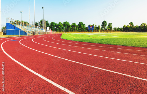 Fotografiet  Running track in a sports stadium