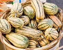 Basket Of Delicata Squash At The Market