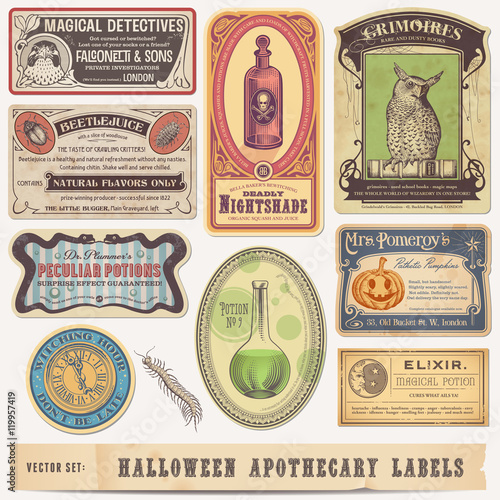 Fototapeta collection of funny vintage halloween apothecary labels - vector designs obraz
