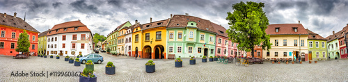 Panorama of the Sighisoara Citadel Square or Fortress Square Tapéta, Fotótapéta