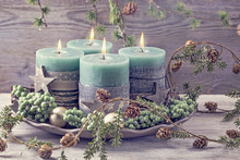 Four Green Christmas Candles
