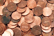 American Pennies Close Up