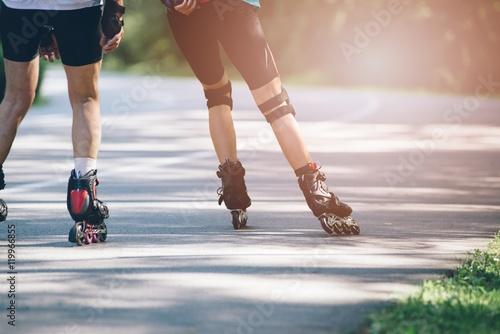 Fotografía  Rollerblading on asphalt road.