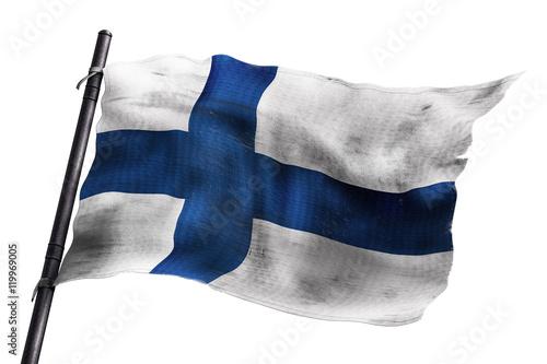 Fotografie, Obraz  Drapeau finlandais usé sur fond blanc