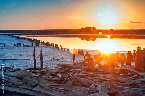 sunrise on salt fields