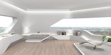 Wohnzimmer In Modernem Futuristischem Interior Design
