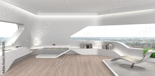 Salon w nowoczesnym futurystycznym wnętrzu