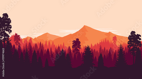 Mountain and forest landscape in evening, in warm colors, in orange tone, Flat landscape. Vector illustration. © miomart