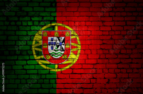 Portugal flag on a brick wall Poster