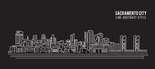 Cityscape Building Line Art Vector Illustration Design - Sacramento City