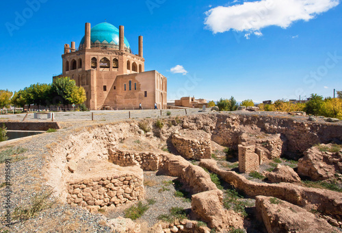 Ruins of protective walls of 14th century mausoleum Dome of Soltaniyeh, Iran. UNESCO World Heritage Site