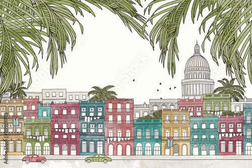 Photo Havana, Cuba - hand drawn colorful illustration of the city with green palm tree