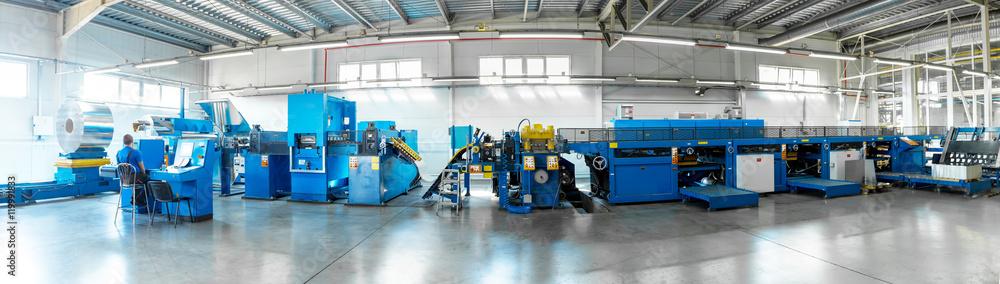 Fototapeta conveyor for cutting sheet metal, shop for metal drawing, conveyor metal sheets