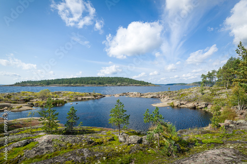 Panoramic view of Ladoga lake islands. Fototapet