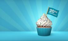 3D Rendering Of Blue Cupcake, ...