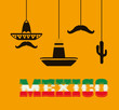 Hat cactus and mutache. Mexico landmark and mexican culture theme. Colorful design. Vector illustration