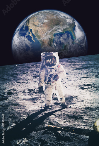 Staande foto Nasa Astronaut walking on moon with earth in background. Elements of