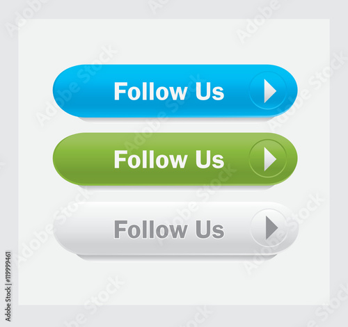 Set of vector web interface buttons. Follow us. Wall mural