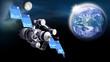 Satellit auf der Umlaufbahn im Weltall,  Erde und Mond