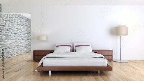 Camera da letto moderna con parquet – kaufen Sie dieses Foto ...