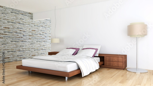 Camera da letto con parquet - Buy this stock illustration and ...