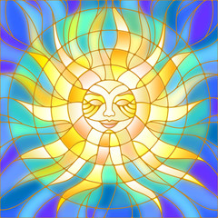 Naklejka Illustration in the style of a stained glass window abstract sun