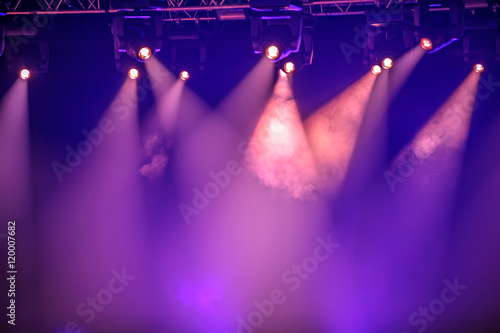 Purple stage spotlights Canvas Print