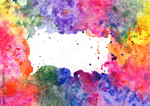 Fototapety, obrazy: Hand painted watercolor background, abstract bright colors (mixed colors, drops and
