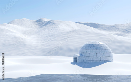 Montage in der Fensternische Pole Igloo isolated in snowfield with lake and snowy mountain, Arctic landscape scene