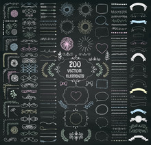 Big Set Of Vector Decorative H...