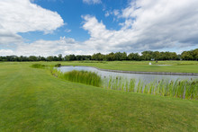 Beautiful Image Of Golf Course With Pond