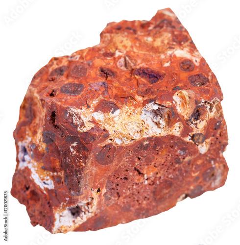 bauxite (aluminium ore) stone isolated on white Canvas Print