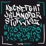 Fototapeta Fototapety dla młodzieży - Hand written graffiti font alphabet. Vector set on black