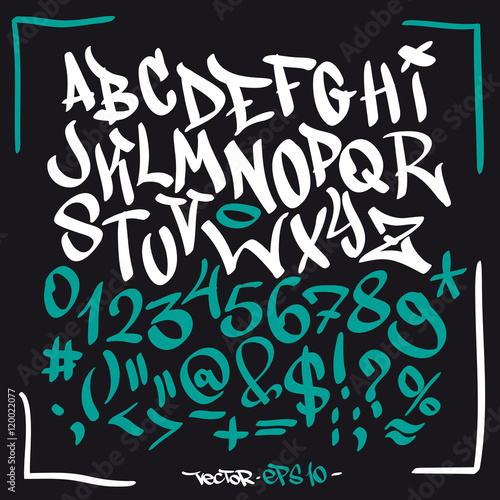 Foto op Plexiglas Graffiti Hand written graffiti font alphabet. Vector set on black