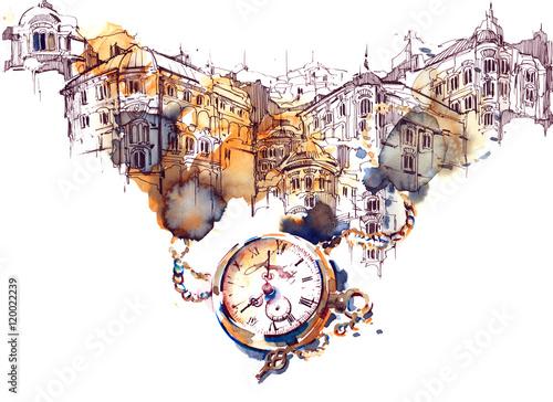 Foto auf Leinwand Gemälde architecture and time