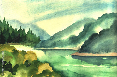 Watercolor mountains, river and trees.