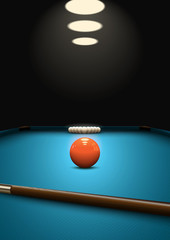 Fototapeta Sport Billiard game background. Balls and que on the billiard table. Perspective view. Snooker poster design. Eps10 vector.