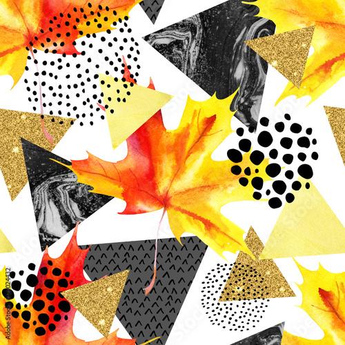 Photo sur Toile Empreintes Graphiques Abstract autumn geometric seamless pattern.