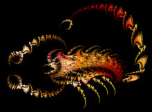 Fractals, Abstract Scorpion On A Black Background