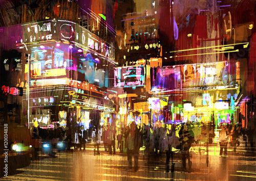 kolorowy obraz nocy ulicy, ilustracja, gród