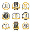 Set of Vintage Anniversary Badges 10th Year Celebration