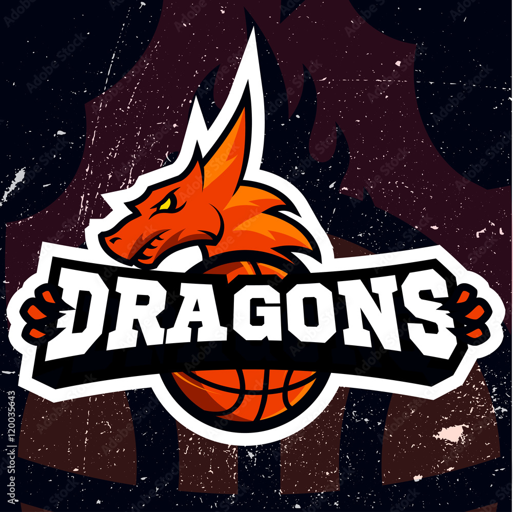 Fotografie, Obraz  Dragon sport logo basketball design