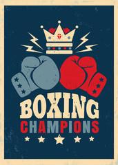 Fototapeta Boks Boxing retro poster