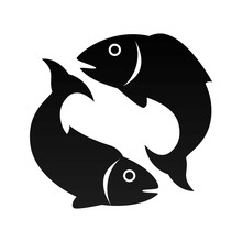 Fish Animal Sea Pisces Zodiac Sign Silhouette Vector Illustration