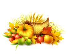 Illustration Of A Thanksgiving Cornucopia Full Of Harvest Fruits And Vegetables. Fall Greeting Design. Autumn Harvest Celebration. Pumpkin And Leaves. Vector Illustration